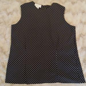 Rena Rowan black-off white dotted top sz 10P